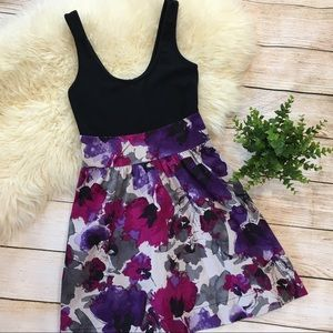 Express | floral purple black fit & flare dress 0